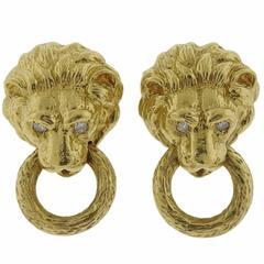 Diamond Gold Lion Head Doorknocker Earrings