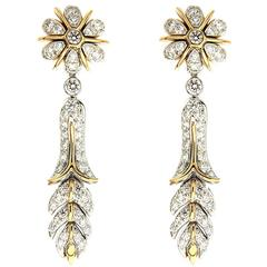 Orchidea Yellow Gold Platinum Floral Earrings