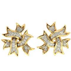 Valentin Magro Diamond Ribbon Earrings in Gold & Platinum