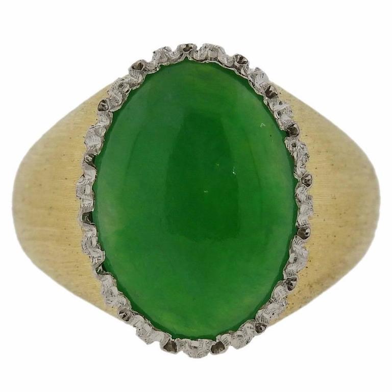 Buccellati Cabochon Jade Gold Ring