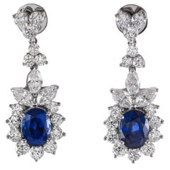 Natural Sapphire Diamond Gold Earrings