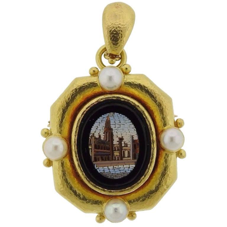 Elizabeth Locke Pearl Gold Micro Mosaic Brooch Pendant For Sale