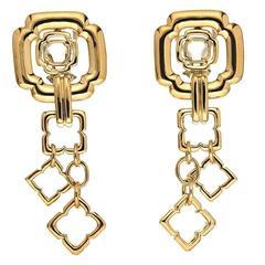 Dangling Geometrical Gothic Gold Earrings