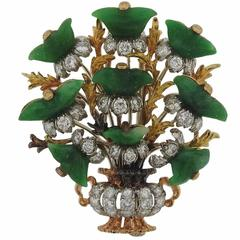 Buccellati Carved Jade Diamond Gold Bouquet Brooch Pin