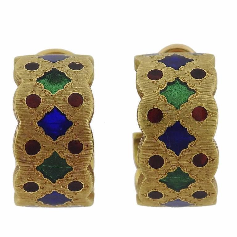 Buccellati Gold Plique-a-Jour Enamel Hoop Earrings