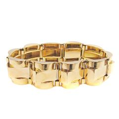 French 1940s Retro Rose Gold Tank Bracelet