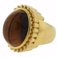 David Webb Tiger's Eye Gold Ring