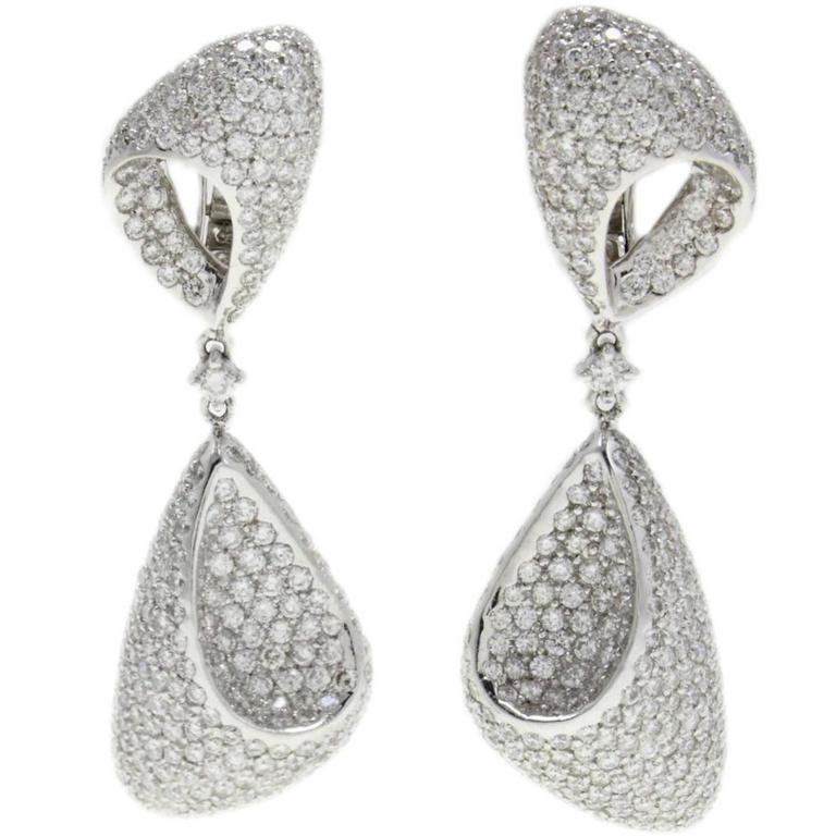 ct 2,97 Diamond 18 t white gold Dangle Earrings
