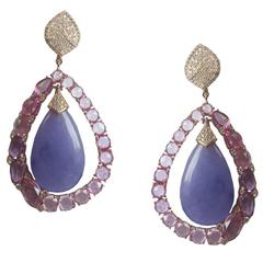 Round Irregular Sapphire Diamond Rainbow Earrings