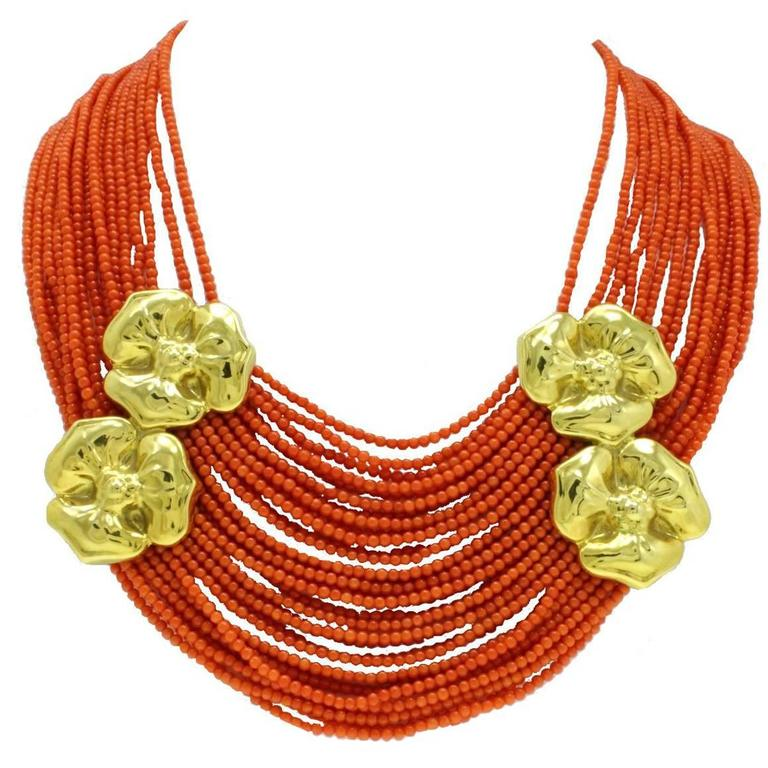 Natural Coral Strands and Gold Flower Necklace