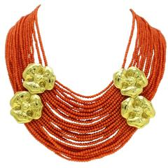 Luise Coral Strands and Gold Flower Necklace