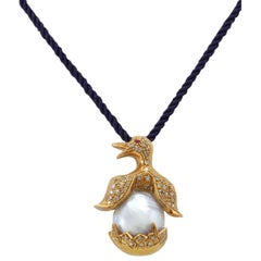 Pearl Diamond Rose Gold Penguin Pendant