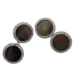 Opal Diamond Gold Cufflinks