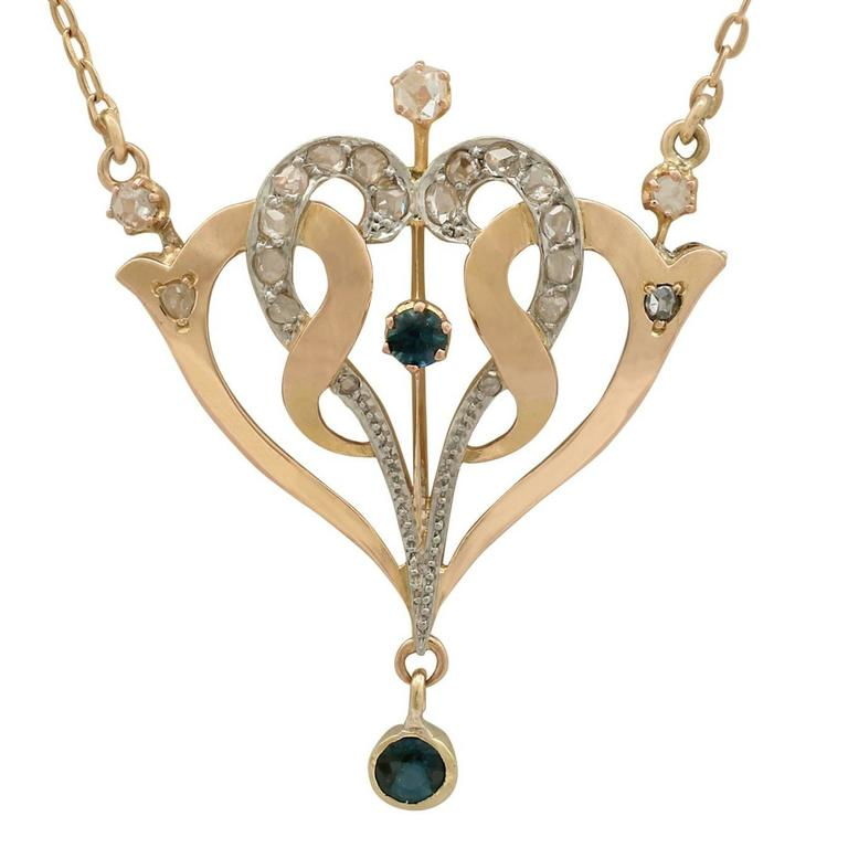 1910s Sapphire Diamond Yellow Gold Necklace
