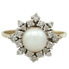 Cultured Pearl Diamond Yellow Gold Ring