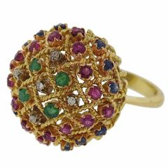 1960s Diamond Ruby Sapphire Emerald Gold Bombe Ring