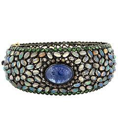 Rainbow Opal Tanzanite Bangle Bracelet