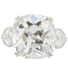 GIA Certified 11.69 Carat Antique Cushion Cut Three-Stone Diamond Platinum Ring