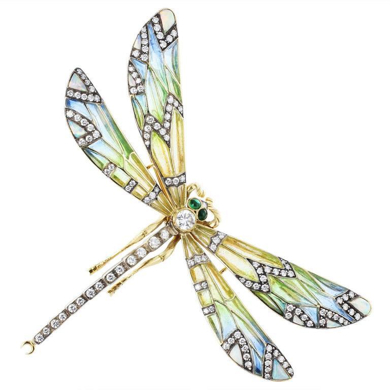 Plique-a-Jour Dragonfly Pin