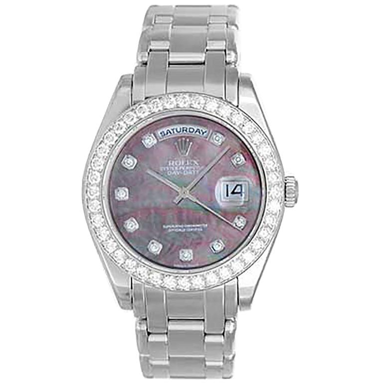 Rolex Platinum Masterpiece Pearlmaster Day Date Automatic Wristwatch Ref 18946 For Sale