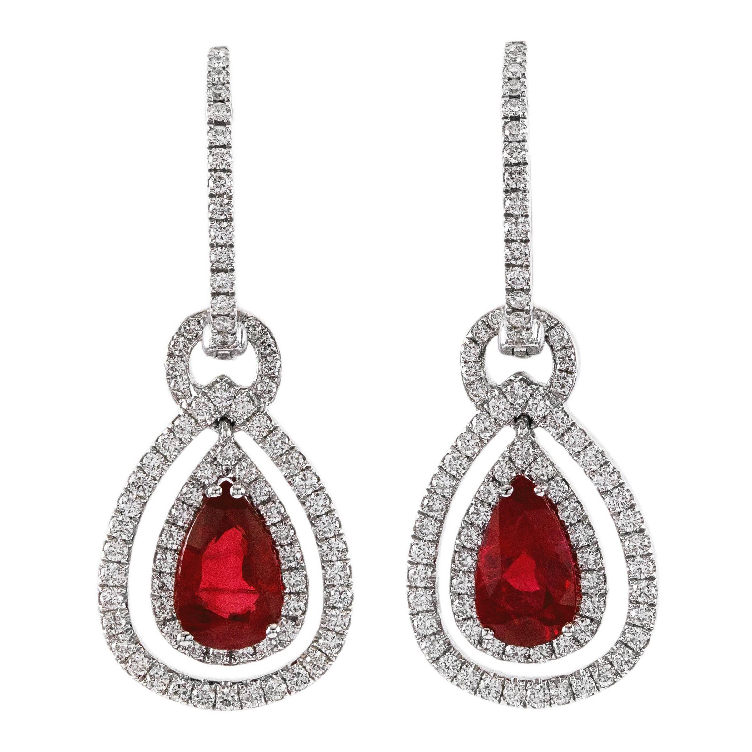 2.08 Carat Ruby Diamond Gold Dangling Earrings