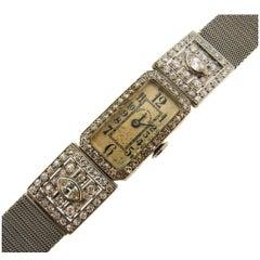 Patek Philippe Ladies Art Deco Platinum Diamond Manual Wind Wristwatch