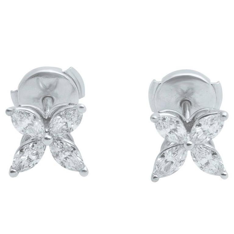 Tiffany & Co. Victoria Diamond Platinum Floral Stud Earrings 1