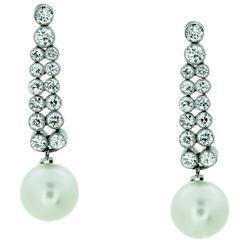 Edwardian Pearl Diamond platinum Drop Earrings