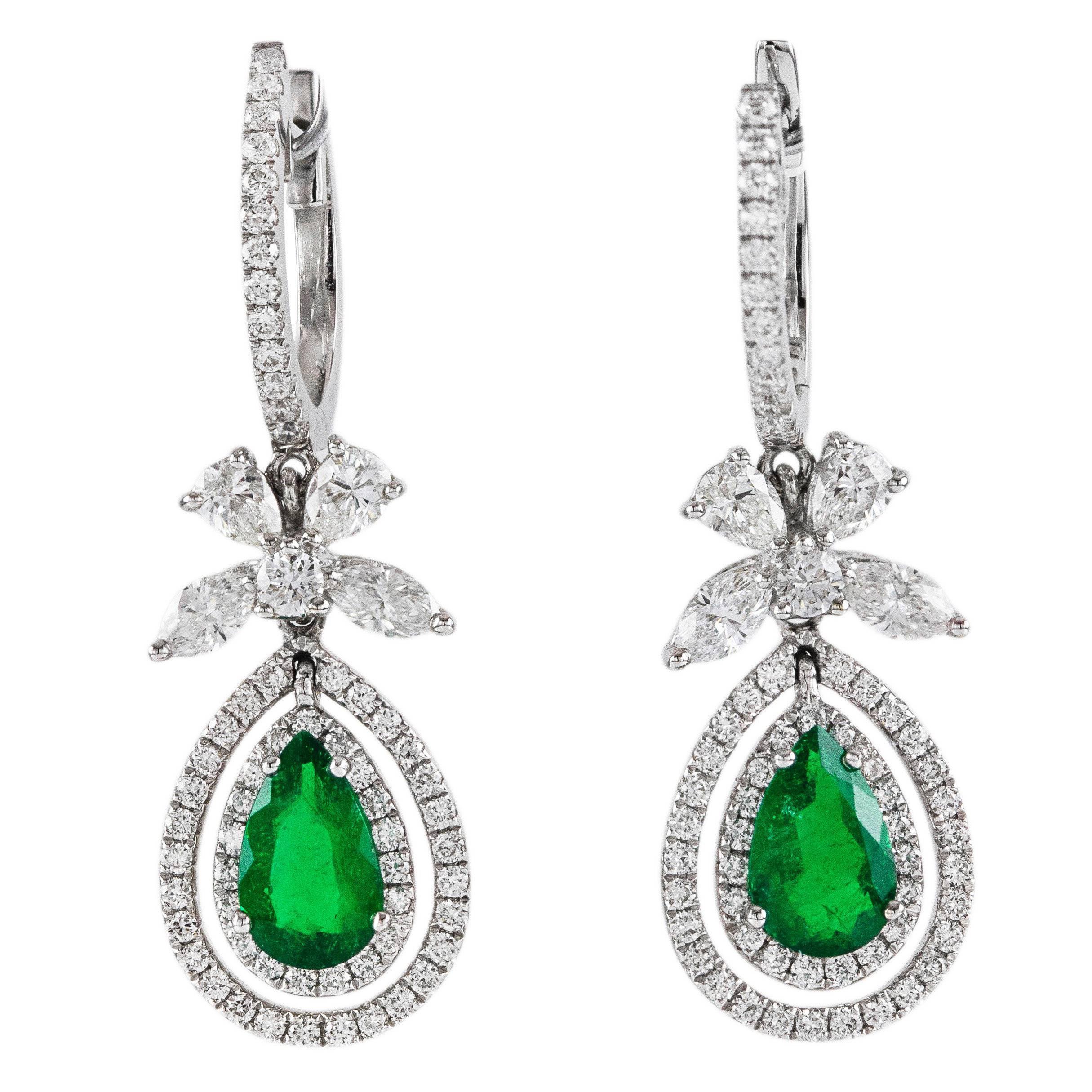 Emerald Diamond Gold Dangling Earrings