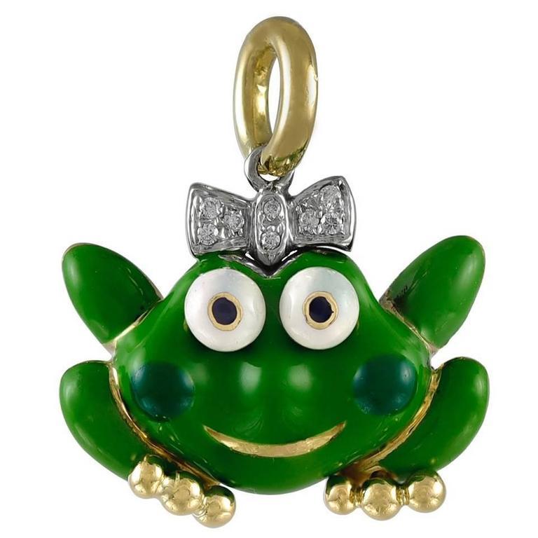 Aaron Basha Enamel Gold Princess Frog Charm