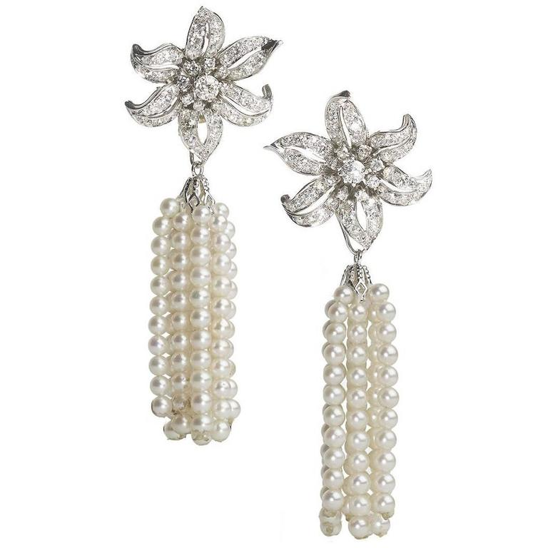 Diamond Pearl Tassel Earrings