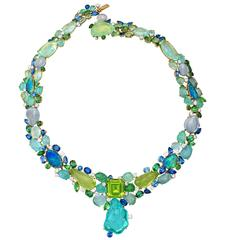 Margot McKinney Burmese Peridot Paraiba Tourmaline Opal Diamond Collier Necklace