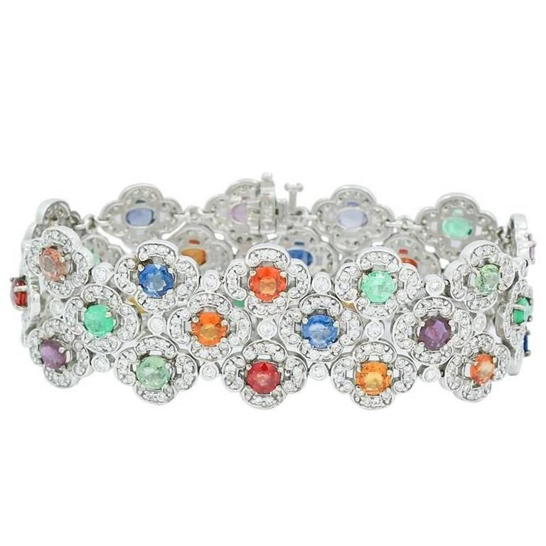 White Gold Flat Wide Bracelet with Diamonds and Color Stones