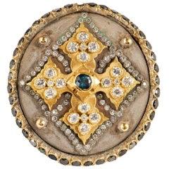Armenta Midnight Cross Diamond & Peacock Tourmaline Ring