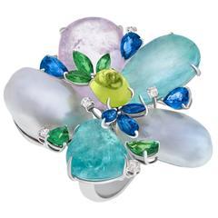 Margot McKinney Lavender Mint Paraiba Tourmaline Pearl Blossom Ring