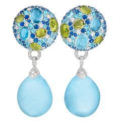 Margot McKinney 50.87 Carat Aquamarine Drop Sapphire Blue Topaz Button Earrings