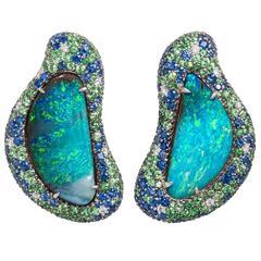 Margot McKinney 41.75 Carat Lightning Ridge Opal Sapphire Diamond Earrings