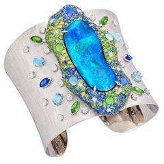 Margot McKinney 35.59 Carat Australian Opal Sapphire Diamond Cuff Bracelet