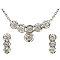 3.20 Carat Diamond Platinum Earring and Necklace Set
