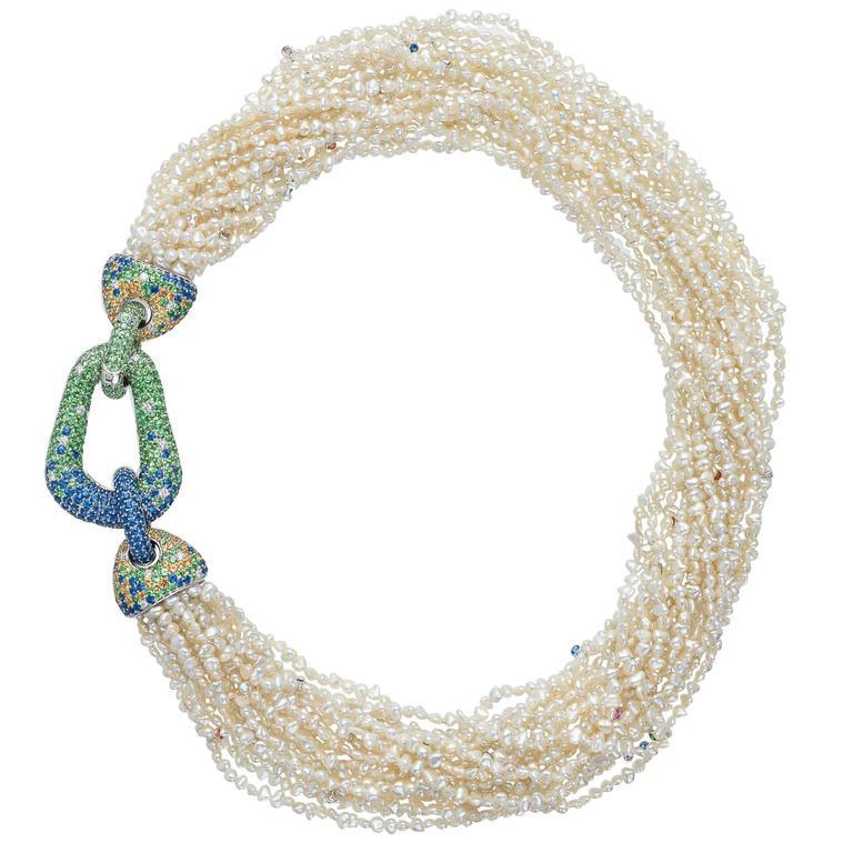 Margot McKinney Pearl Sapphire Tsavorite Garnet Diamond Gold Buckle Necklace 1