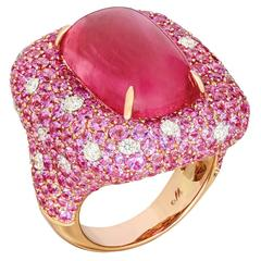 Margot McKinney 17.66 Carat Rubellite Diamond Pink Sapphire Cocktail Ring
