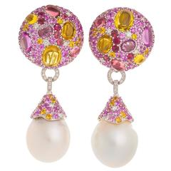 Margot McKinney South Sea Pearl Pink Sapphire Tourmaline Diamond Drop Earrings