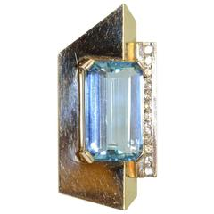 Emerald Cut Aquamarine Diamond Gold Abstract Pendant Brooch