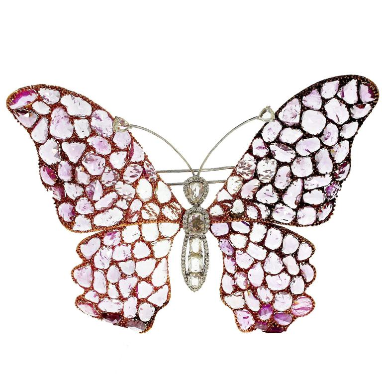 Diamond and Pink Sapphire Butterfly Brooch