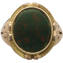 Antique Victorian Bloodstone and Yellow Gold Signet Ring