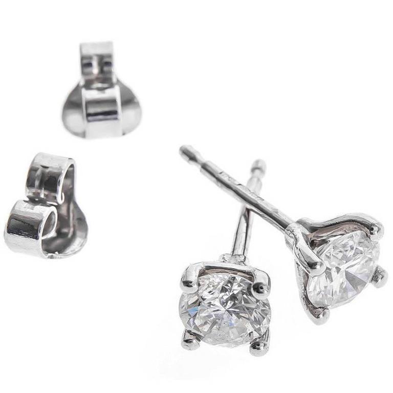 Platinum 1.00 Carat Solitaire Earrings