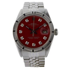 Rolex Stainless Steel Oyster Perpetual Date Red Diamond Dial Watch