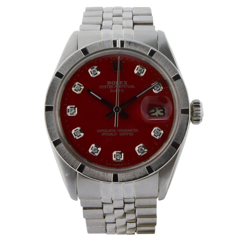 Rolex Stainless Steel Oyster Perpetual Date Red Diamond Dial Watch For Sale