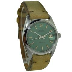 Rolex Stainless Steel Oyster Perpetual Date Green Dial Wristwatch