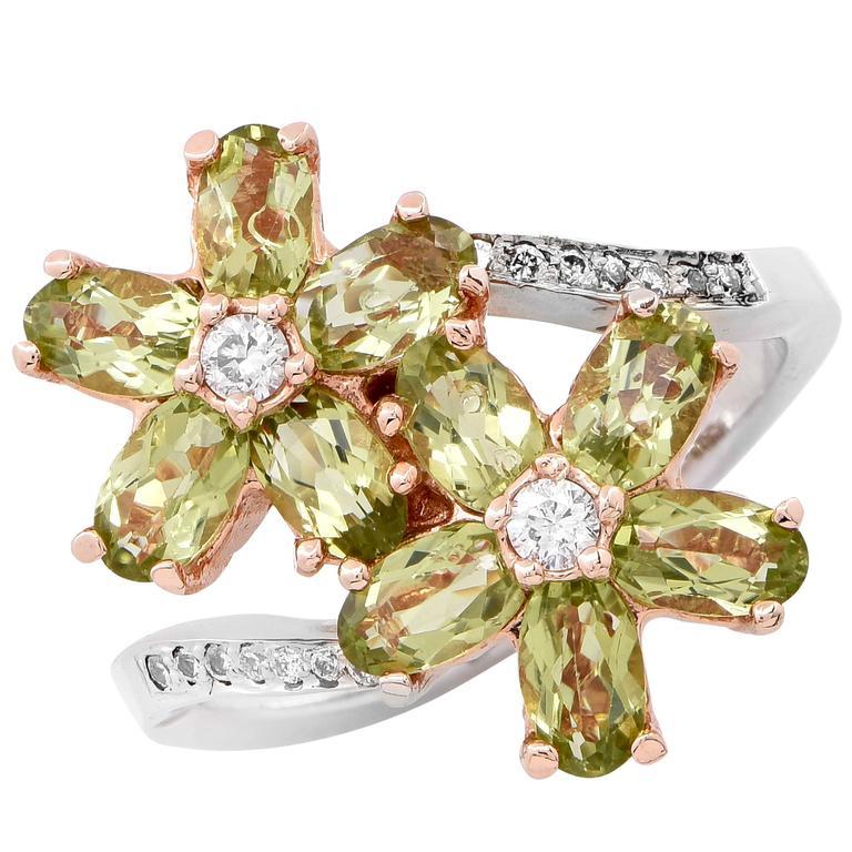 Peridot and Diamond Flower Ring